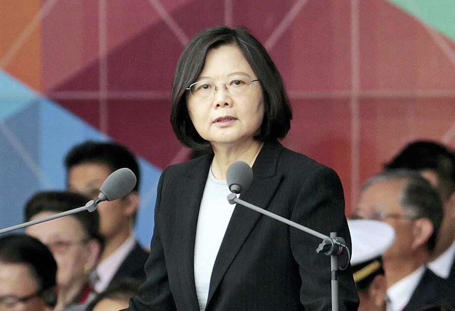 Taiwan's President Tsai Ing-wen delivers a speech during National Day celebrations in front of the Presidential Building in Taipei, Taiwan, in October. President-elect Donald Trump spoke Dec. 2, with the president of Taiwan. Photo: FILE Photo  / Copyright 2016 The Associated Press. All rights reserved.