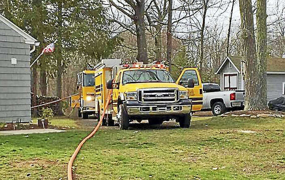 Haddam Volunteer Fire Company was assisted by members of Durham Volunteer Fire Middletown's South District during a brush fire last week on Wiese Albert Road in the Higganum section of town. Photo: Courtesy Photo