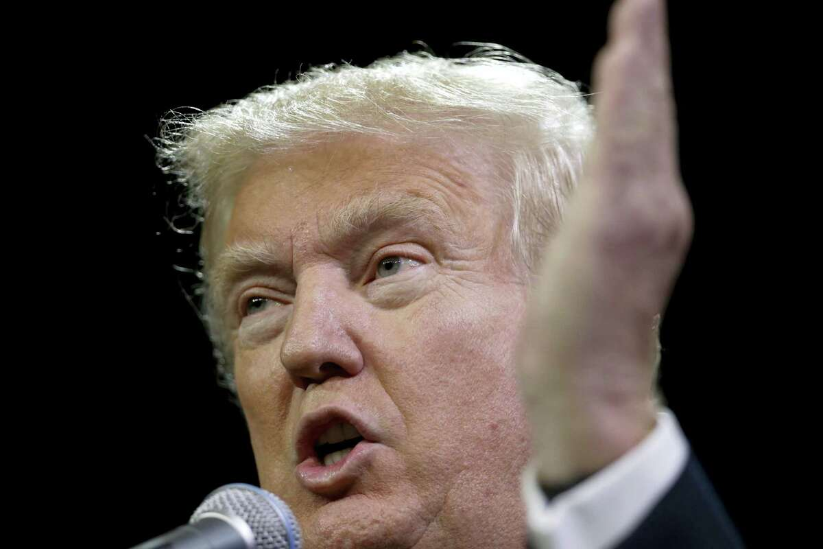 Republican presidential candidate Donald Trump speaks at a May 27 rally in Fresno, California.