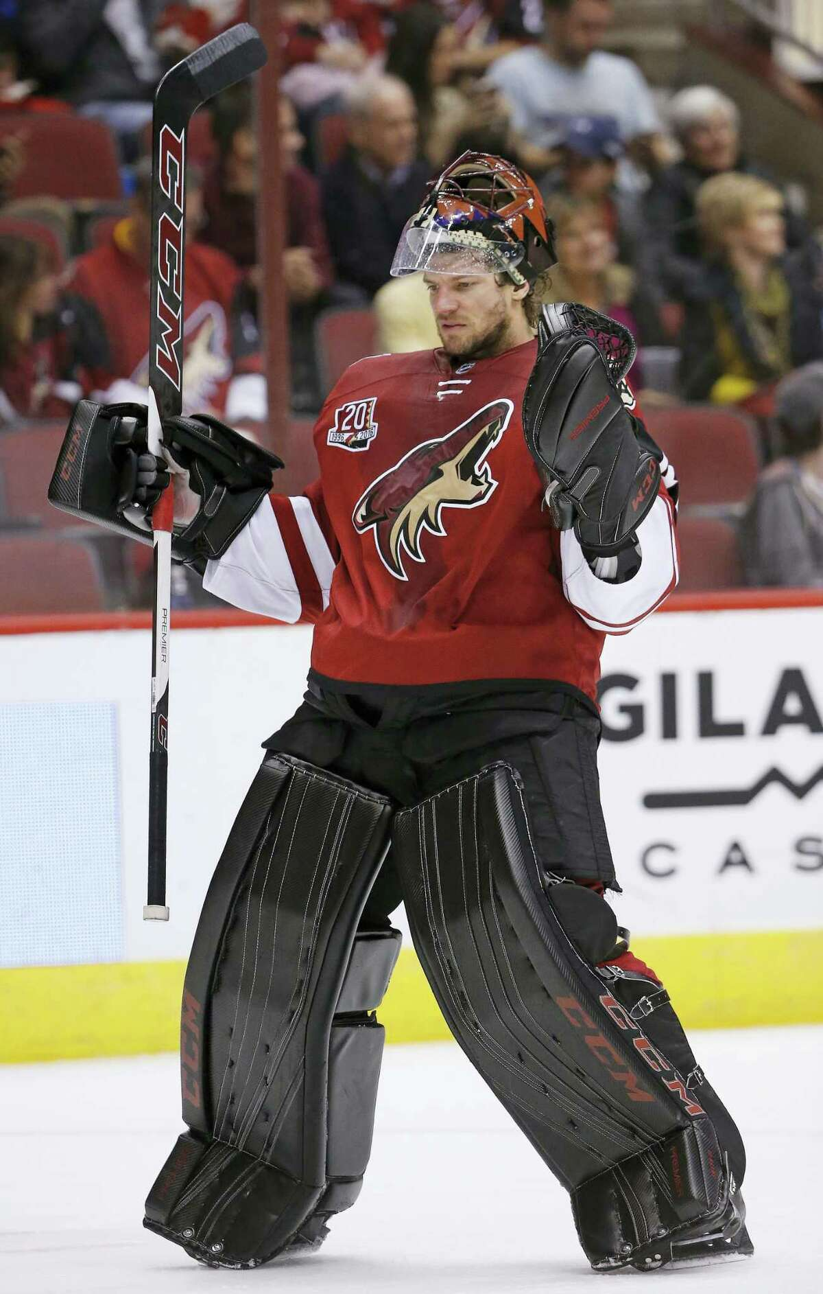 Arizona Coyotes goalie Mike Smith skates back to his goal area during the first period of an NHL hockey game against the Columbus Blue Jackets Saturday, Dec. 3, 2016, in Glendale, Ariz. The Blue Jackets defeated the Coyotes 3-2 in a shootout.
