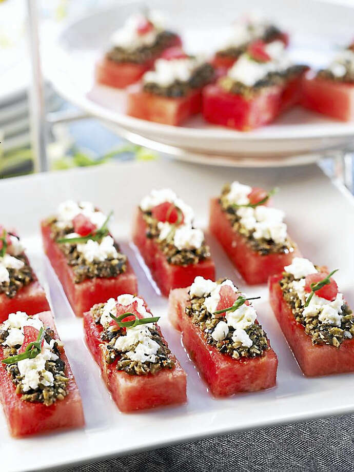 Who needs bread with this quick and easy watermelon canapés appetizer that can be made hours ahead of your party? Photo: Photo Courtesy Of National Watermelon Promotion Board