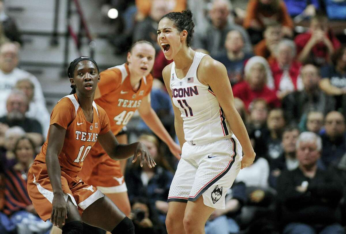 UConn's Kia Nurse reacts during the first half of Sunday's game against Texas in Uncasville.