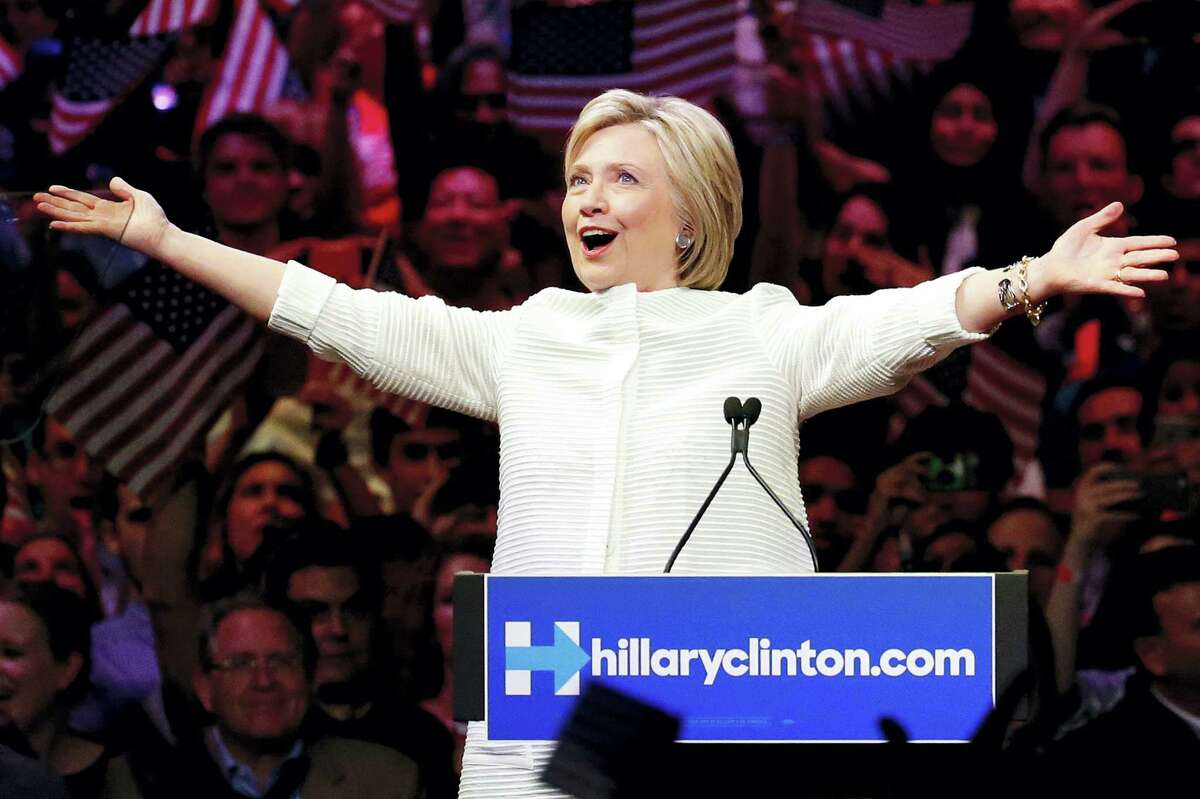 Democratic presidential candidate Hillary Clinton gestures as she greets supporters at a presidential primary election night rally, Tuesday, June 7, 2016, in New York.