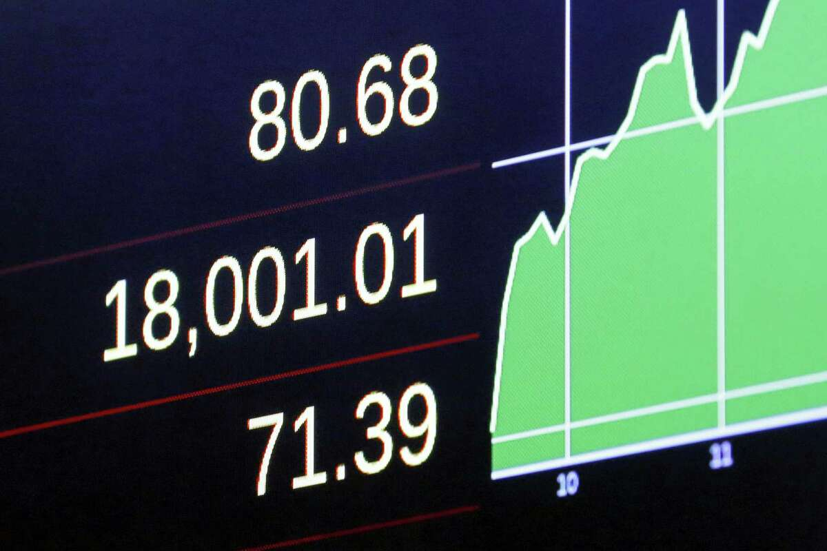 A screen above the trading floor of the New York Stock Exchange shows the Dow Jones industrial average as it moves above 18,000 in intraday trading Tuesday.
