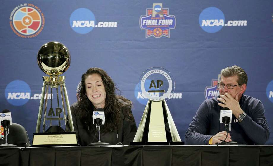 UConn's Breanna Stewart, left, and coach Geno Auriemma respond to questions during a news conference at the women's Final Four in Indianapolis on Saturday. Photo: AJ Mast — The Associated Press  / FR123854 AP