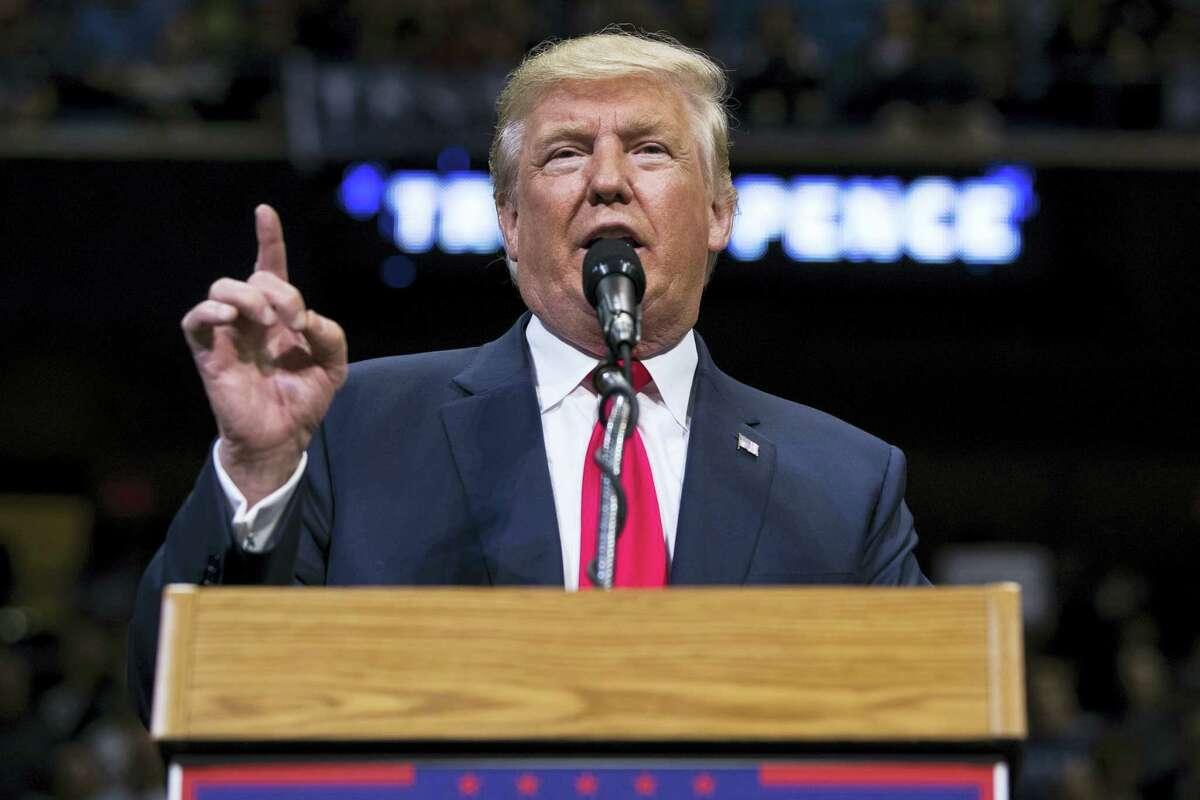 Republican Presidential nominee Donald J. Trump delivers remarks during a rally at Mohegan Sun Arena in Wilkes-Barre Twp., Pa. on Oct. 10, 2016.