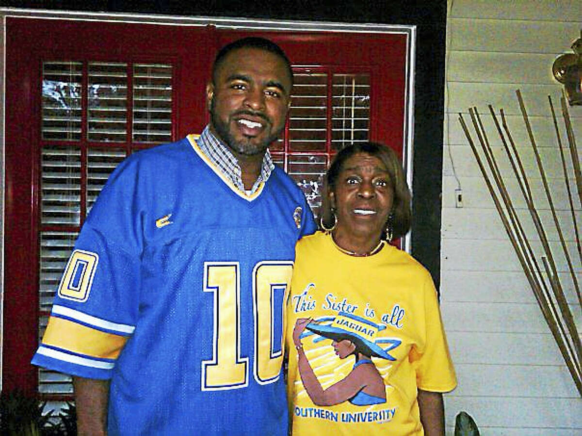 Shahid Abdul-Karim and his mother in 2011 prepare for Bayou Classic weekend in New Orleans.