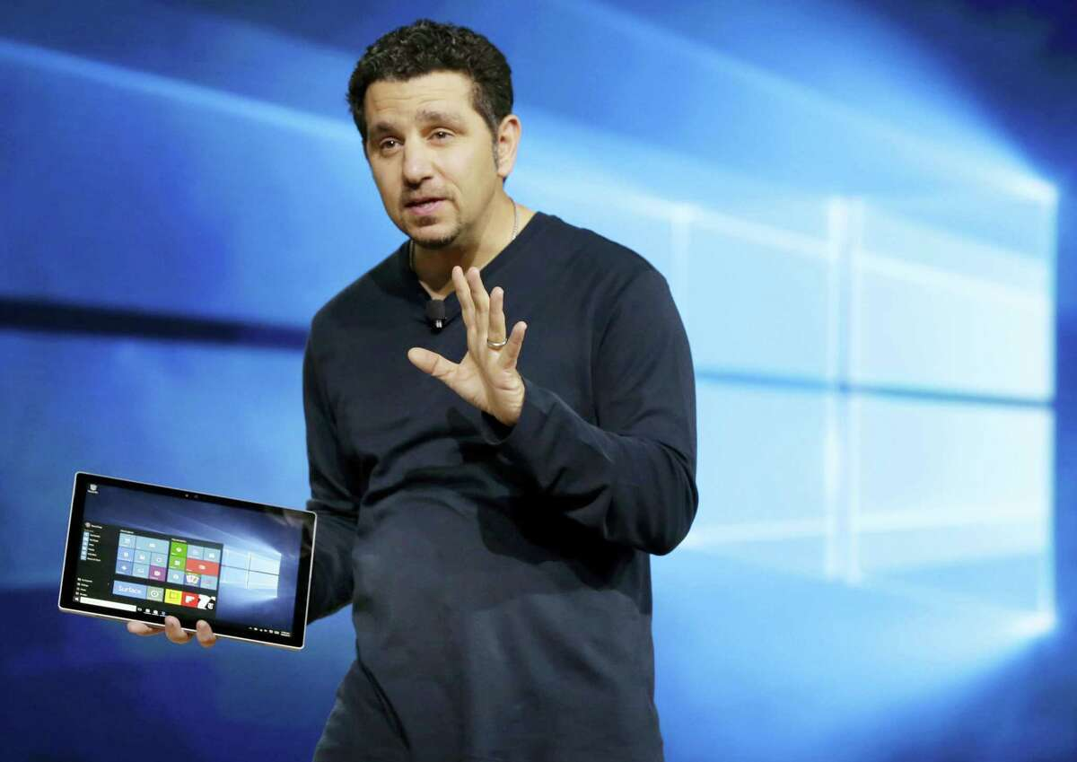 Panos Panay, Microsoft's vice president for Surface Computing, talks about the new Surface Pro 4 tablet during a presentation in New York in October 2015.