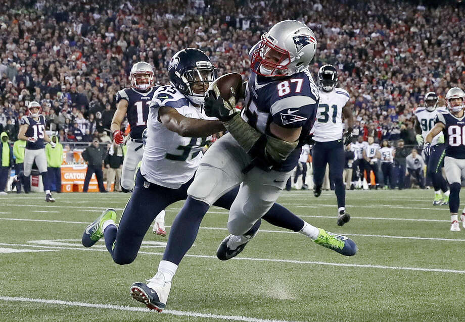 Patriots tight end Rob Gronkowski catches a pass against the Seahawks earlier this season. Photo: Charles Krupa — The Associated Press File Photo  / Copyright 2016 The Associated Press. All rights reserved.