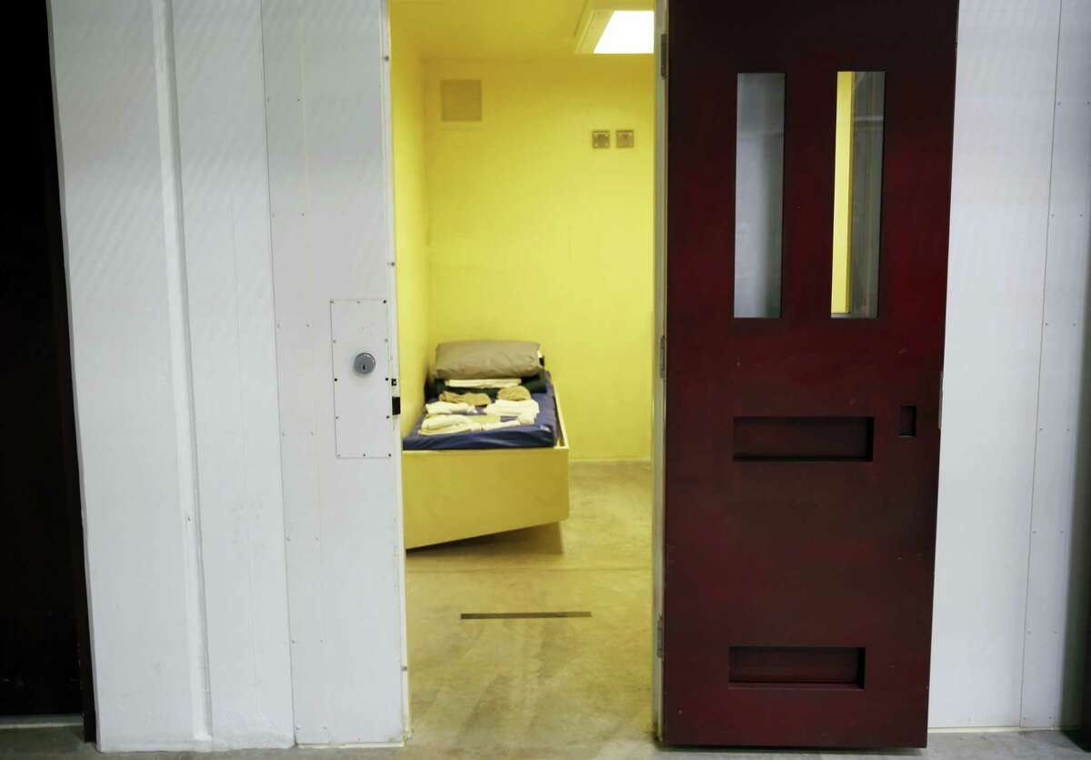 In this Feb. 6, 2016 photo, a detainee cell in Camp 6 is seen inside the U.S. detention center at Guantanamo Bay, Cuba.