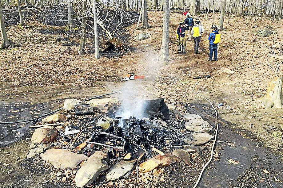Haddam Volunteer Fire Company was assisted by members of Durham Volunteer Fire Middletown's South District during a brush fire Thursday on Wiese Albert Road in the Higganum section of town. Photo: Courtesy Photo