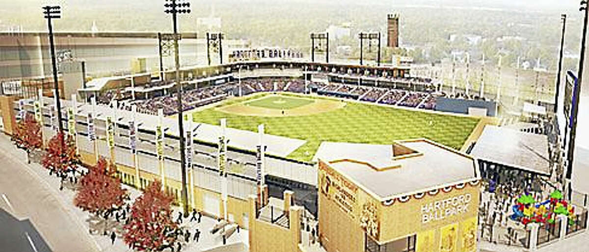 Architectural drawing of Dunkin' Donuts Park in Hartford where the Yard Goats will play