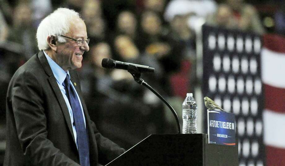 A bird lands on the podium of Democratic presidential candidate Sen. Bernie Sanders, I-Vermont, during a rally at the Moda Center in Portland, Oregon, on March 25. The moment became an Internet sensation, creating the viral hashtag #BirdieSanders. Photo: Steve Dykes — ASSOCIATED PRESS  / FR155163 AP