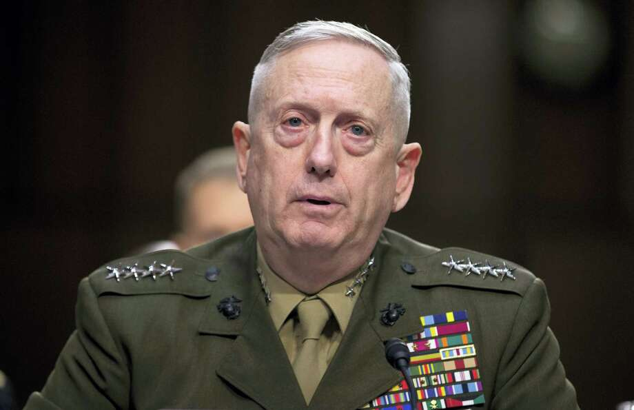 In this March 5, 2013, file photo, then-Marine Gen. James Mattis, commander, U.S. Central Command, testifies on Capitol Hill in Washington. President-elect Donald Trump says he will nominate retired Gen. James Mattis to lead the Defense Department. Photo: AP Photo/Evan Vucci, File   / AP2013