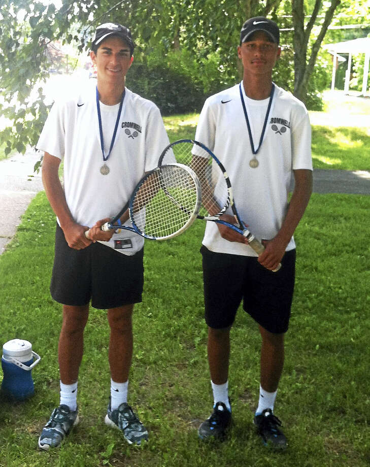 Cromwell's Justin Risley, left, and Jared Grant were finalists in the CIAC Class S doubles tournament. Photo: Journal Register Co.