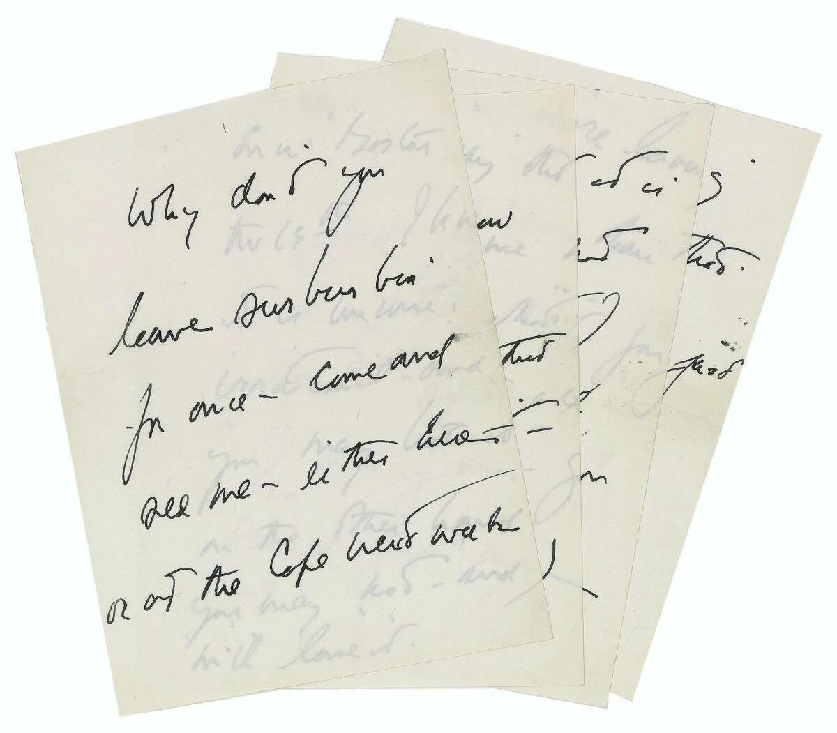 This April 15, 2016 photo provided by RR Auction shows a hand-written letter by President John F. Kennedy. The letter written by Kennedy to a purported paramour seeking to set up a liaison is one of several Kennedy-related items being sold at auction. The online auction is being held by Boston-based RR Auction starting June 16.