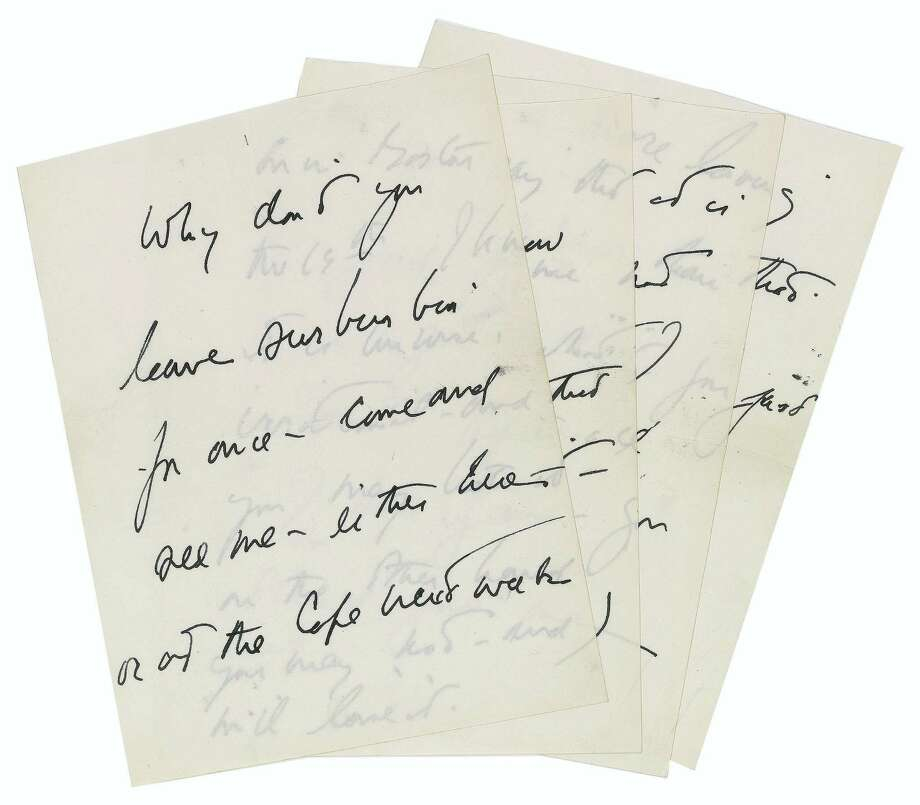 This April 15, 2016 photo provided by RR Auction shows a hand-written letter by President John F. Kennedy. The letter written by Kennedy to a purported paramour seeking to set up a liaison is one of several Kennedy-related items being sold at auction. The online auction is being held by Boston-based RR Auction starting June 16. Photo: RR Auction Via AP   / RR Auction
