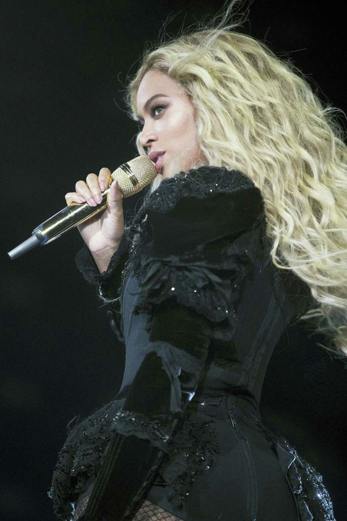 """This photo taken Sept. 24, 20016 shows Beyonce performing during the Formation World Tour at Mercedes-Benz Superdome, in New Orleans. Beyoncé wrapped up her """"Formation World Tour"""" with onstage assists from Jay Z, Kendrick Lamar and Serena Williams, while Hugh Jackman, Tyler Perry and Frank Ocean watched from the crowd."""