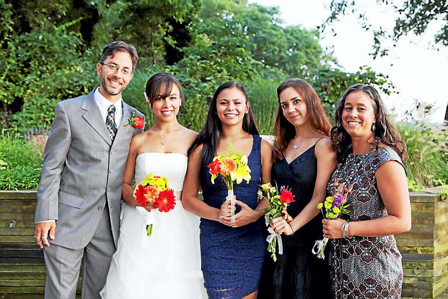 Contributed photo  The family celebrates Ariana Alicea's nuptials. Shown, from left, are Noah Baerman, Ariana Alicea, Tiana Alicea, Rebecca Koval and Kate TenEyck. Photo: Digital First Media