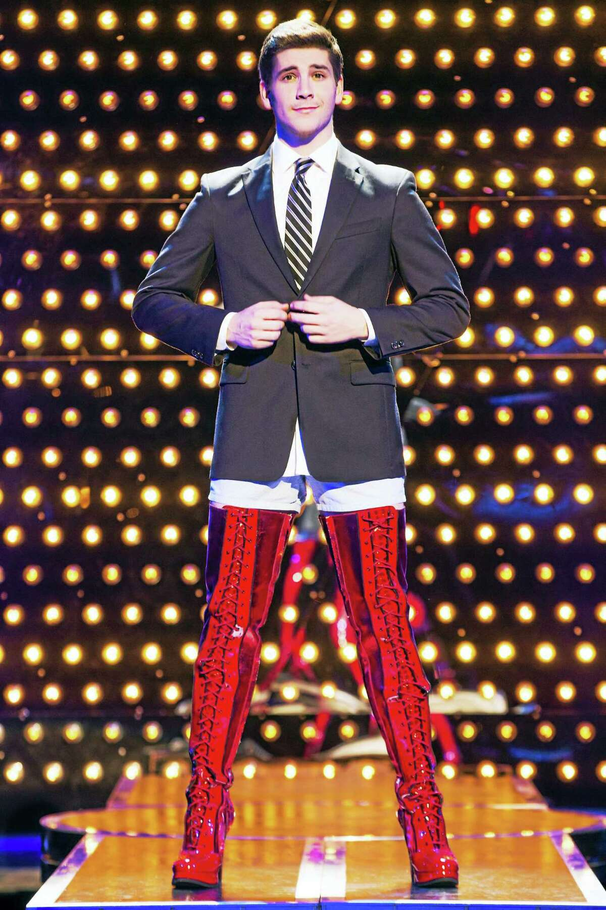 """Adam Kaplan in the national tour of """"Kinky Boots."""""""