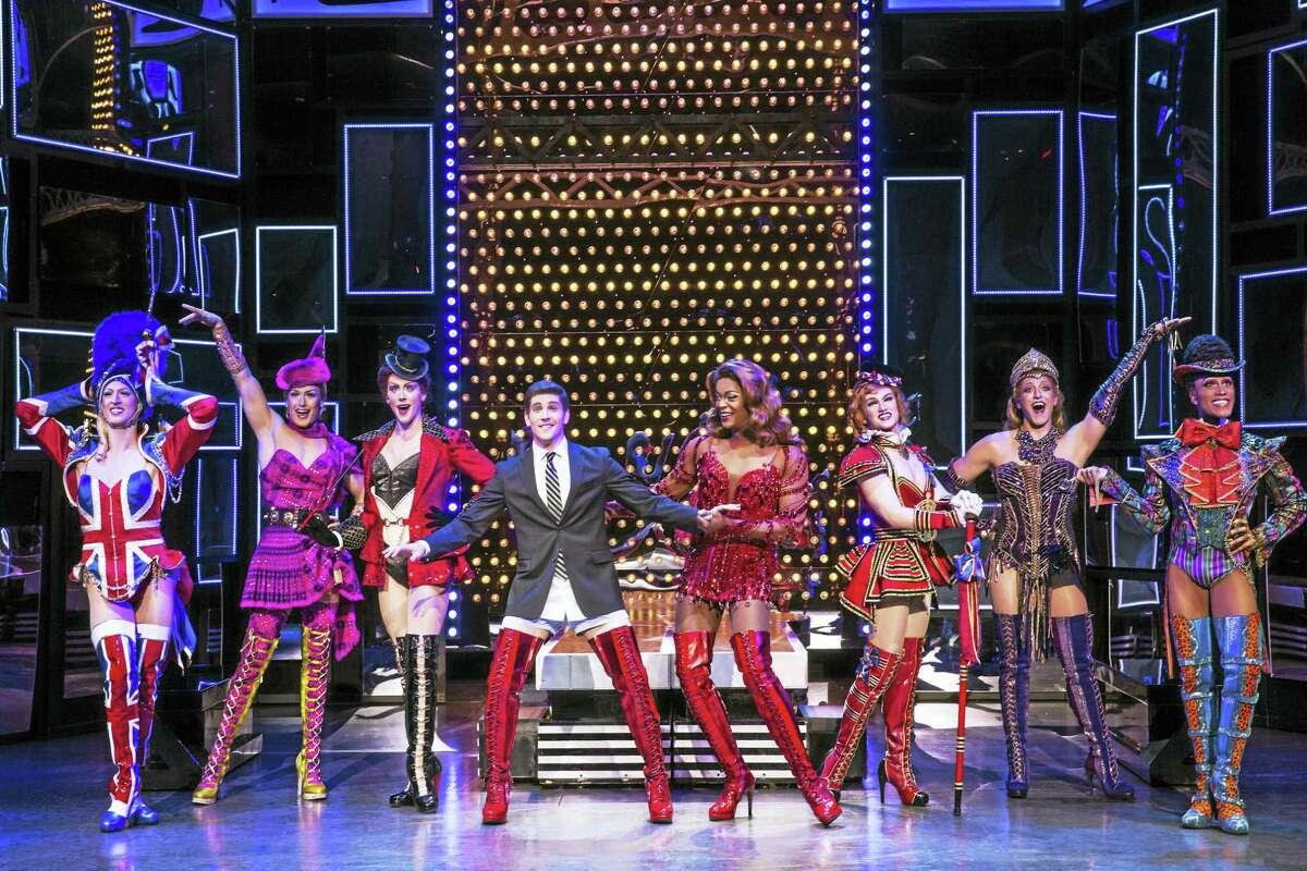 "Adam Kaplan, center left, of Westport stars in ""Kinky Boots"" at the Shubert beginning Wednesday."