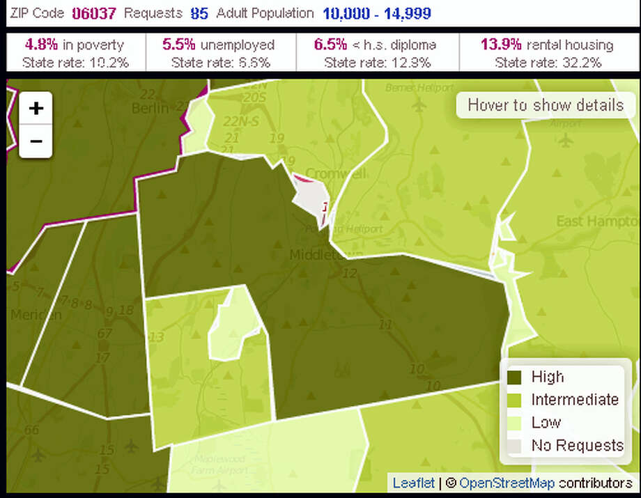 Last week, United Way 2-1-1 announced the launch of the 2-1-1 Counts dashboard in Connecticut. Using a combination of U.S. Census data and service request data collected from the 2-1-1 Connecticut contact center, the dashboard presents a visual representation of community specific needs throughout the state. Photo: Contributed Photo