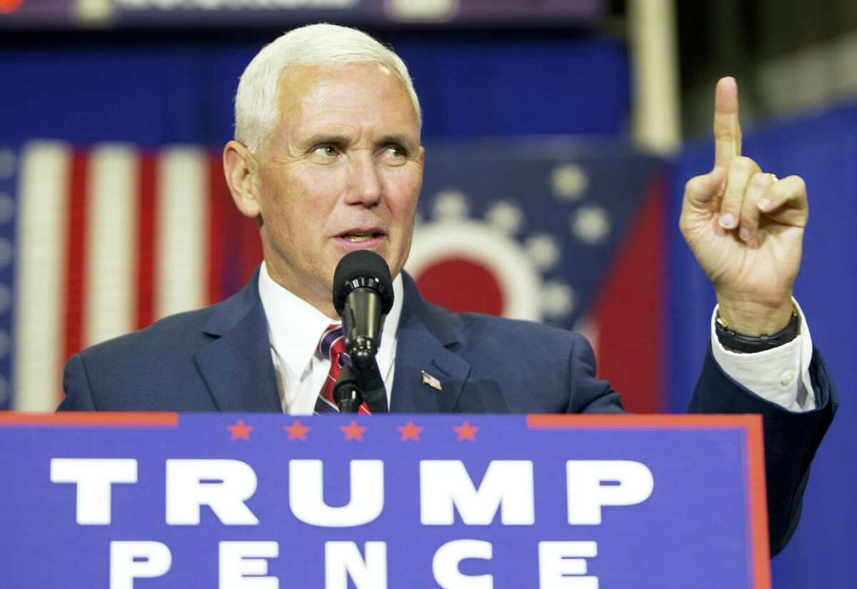 Republican vice presidential candidate, Indiana Gov. Mike Pence speaks during a campaign stop at the the Rossford Recreation Center in Rossford, Ohio, Friday, Oct. 7, 2016.