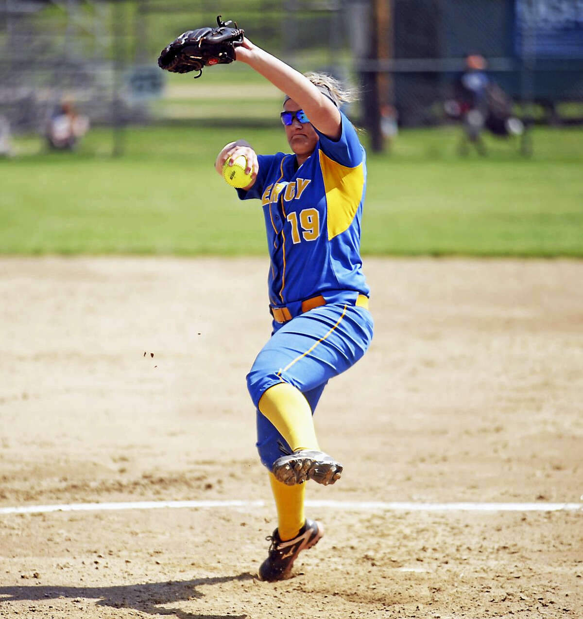 Jimmy Zanor - The Middletown PressMiddletown senior Bri Sawicki fires a pitch against Fitch on Thursday at Washington Park in Groton.