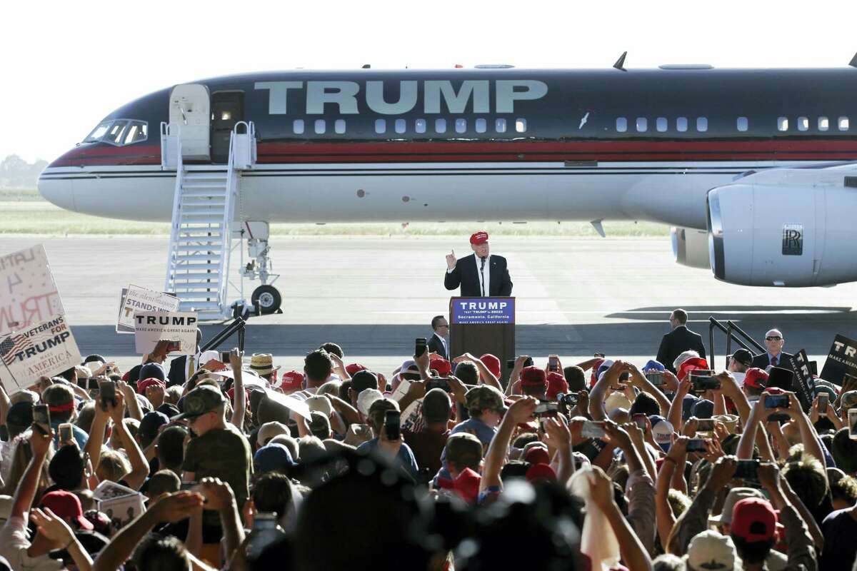 Republican presidential candidate Donald Trump speaks at a rally Wednesday in Sacramento, California.