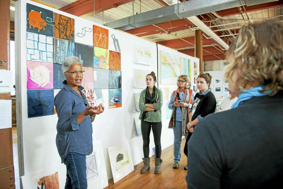 Deborah Dancy (Artspace board member) leads a studio tour at Erector Square in 2014. Photo: Photo Courtesy Of Graham Hebel  / Copyright Graham Hebel 2014. All Rights Reserved.