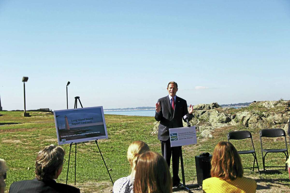 U.S. Sen. Richard Blumenthal, D-Conn, speaks at a press conference announcing the publication of the Report Card for the Long Island Sound. (Anna Bisaro - New Haven Register)