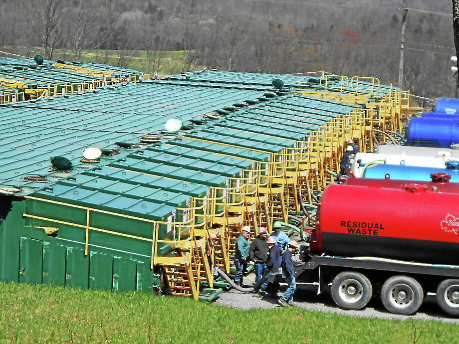 This week, Portland became the fourth town in the state to enact a ban on drilling and extractions wastes being shipped into town for use or disposal. Shown here is a fracking waste storage facility in Pennsylvania. Photo: File Photo