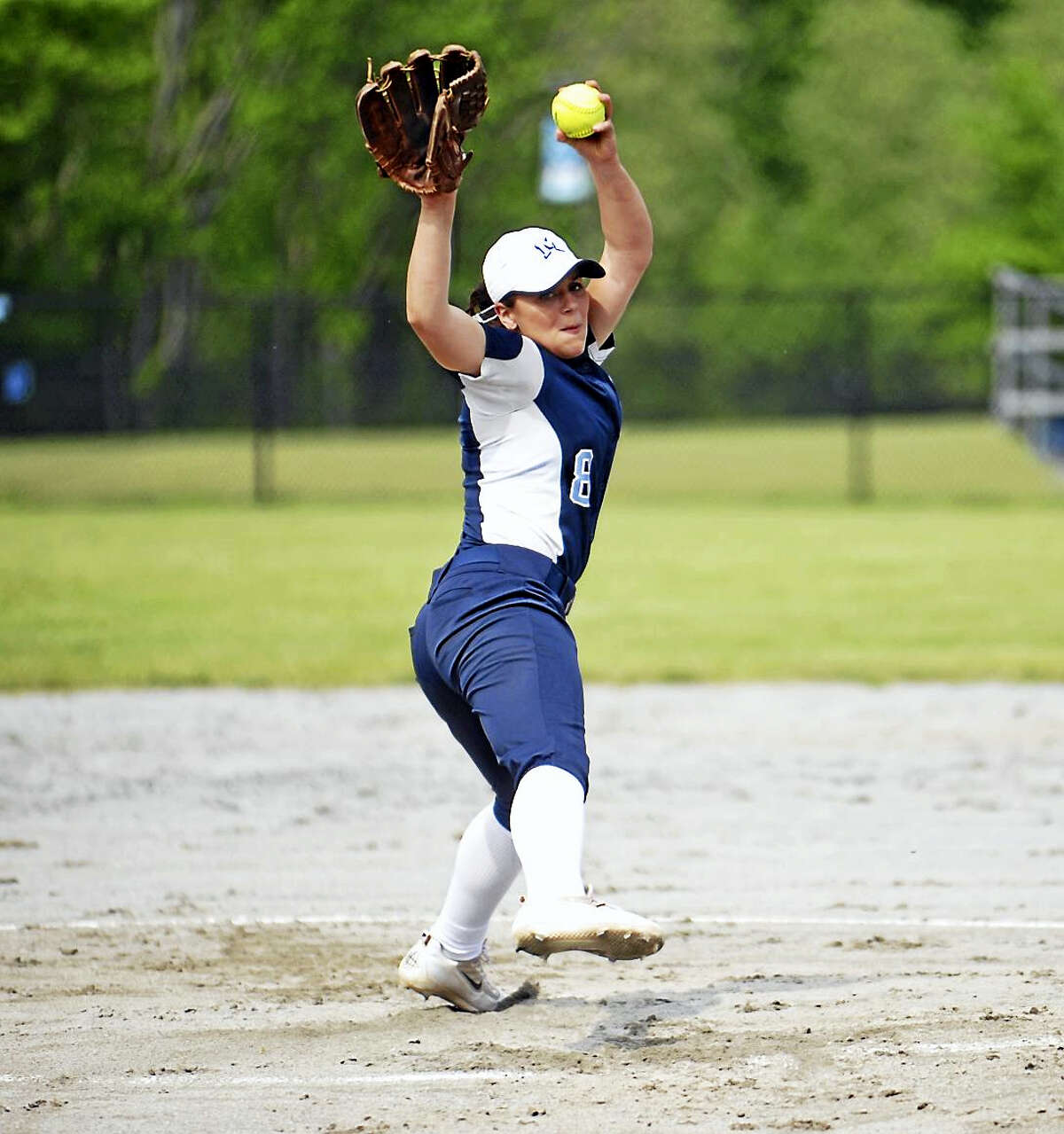 Jimmy Zanor - The Middletown PressMiddletown junior Sam Pizzonia allowed just one run and struck out four in the Blue Dragons Class LL second round win over Wilton.