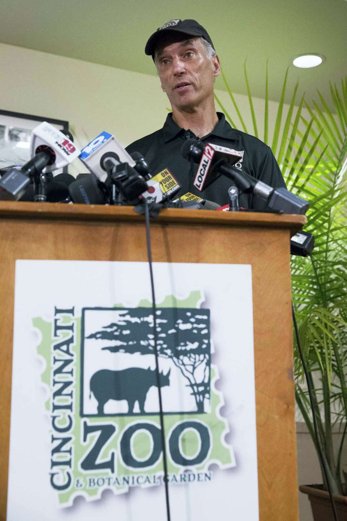 Thane Maynard, director of the Cincinnati Zoo & Botanical Garden, speaks during a news conference, Monday, May 30, 2016, in Cincinnati. A gorilla named Harambe was killed by a special zoo response team on Saturday after a 4-year-old boy slipped into an exhibit and it was concluded his life was in danger.