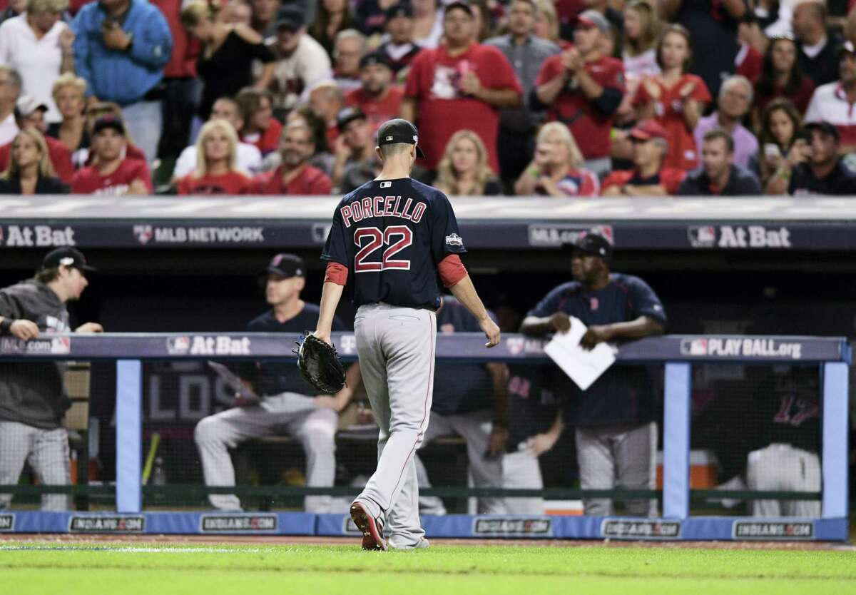 Red Sox pitcher Rick Porcello walks to the dugout in the fifth inning on Thursday.