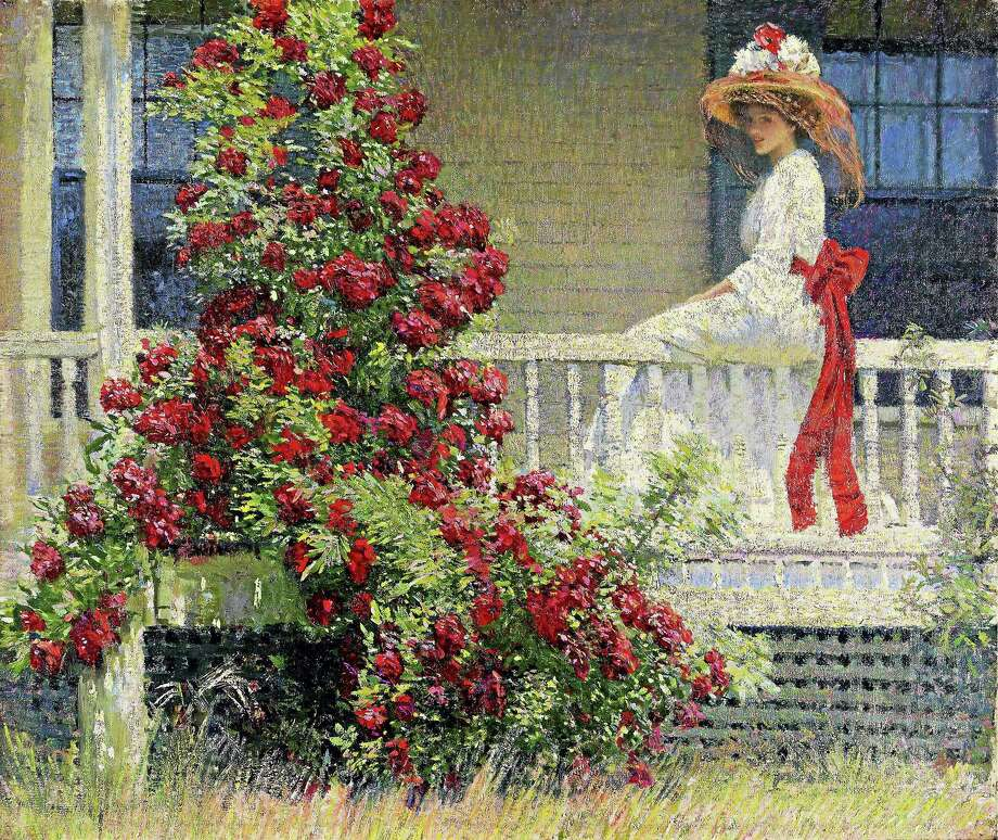 Contributed photo  Philip Leslie Hale (1865-1931), The Crimson Rambler, c. 1908. Oil on canvas, 25 1/4 x 30 3/16 in. Pennsylvania Academy of the Fine Arts, Philadelphia, Joseph E. Temple Fund, 1909. The painting is part of a national impressionist exhibit, The Artist's Garden, on display at the Florence Griswold Museum from June through September. Photo: Journal Register Co. / Pennsylvania Academy of the Fine Arts