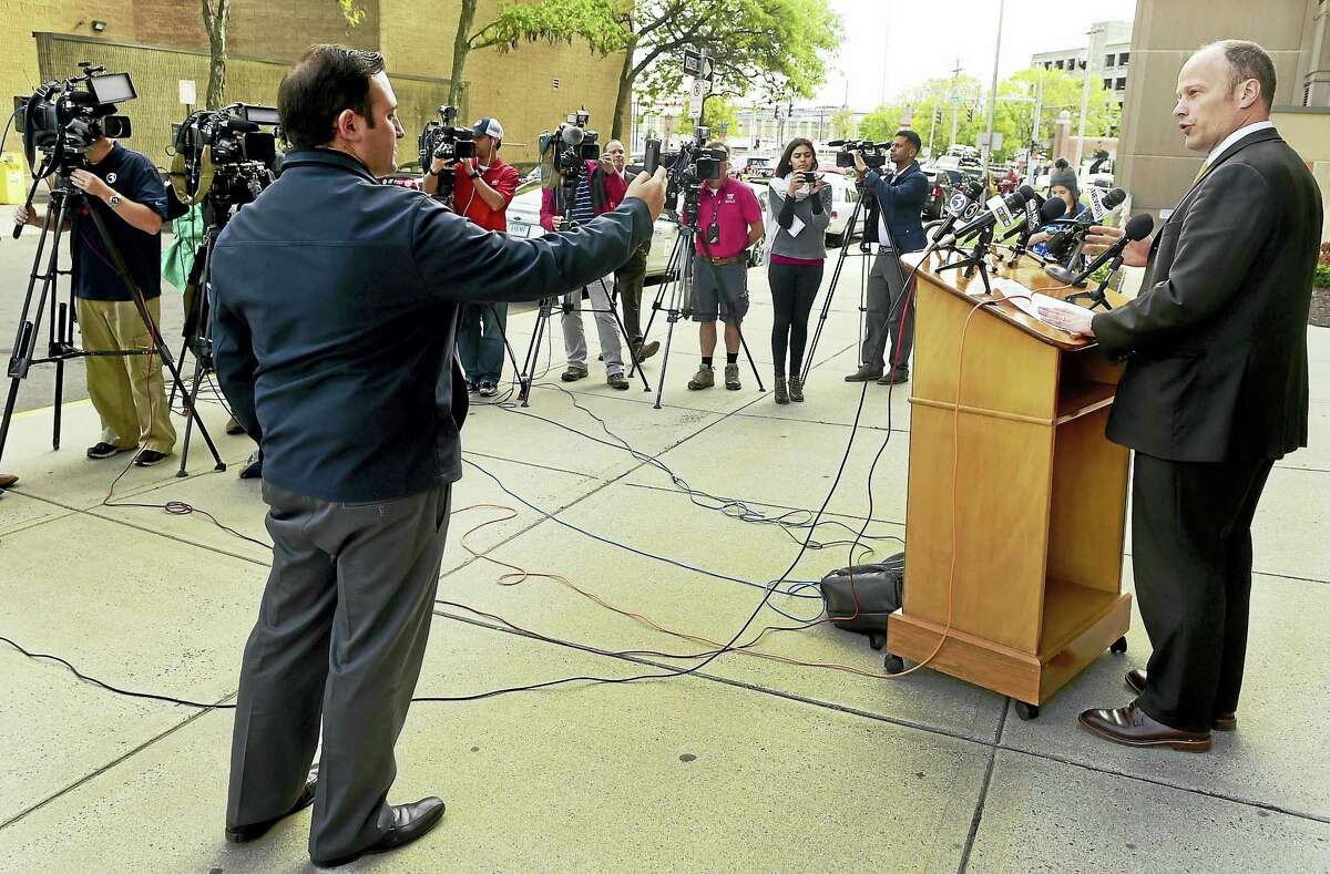 """New Haven Superintendent of Schools Garth Harries speaks during a press conference Tuesday outside the Board of Education office in New Haven about the investigation into """"intangible"""" threats to New Haven schools by an Instragram account showing menacing clown photos and messages."""