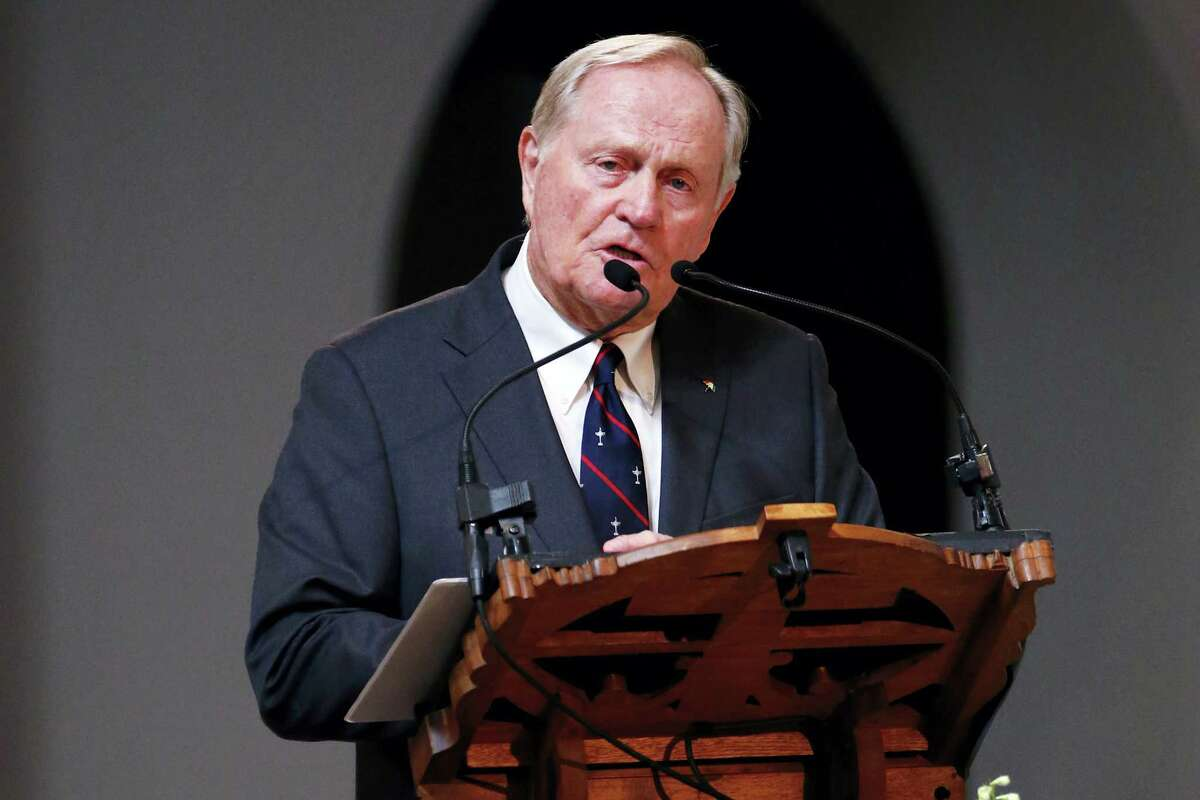 Golfer Jack Nicklaus makes remarks during a memorial service for golfer Arnold Palmer in the Basilica at Saint Vincent College in Latrobe, Pa.