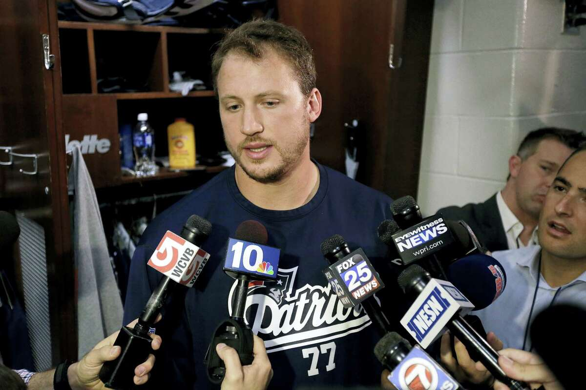 Patriots tackle Nate Solder takes questions from reporters on Monday.