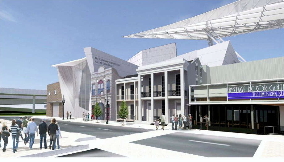 This computer rendering provided by The National World War II Museum, shows what the Hall of Democracy, which will be located in New Orleans' Central Business District, is proposed to look like. Photo: Voorsanger Mathes LLC./The National World War II Museum Via AP  / The National World War II Museum