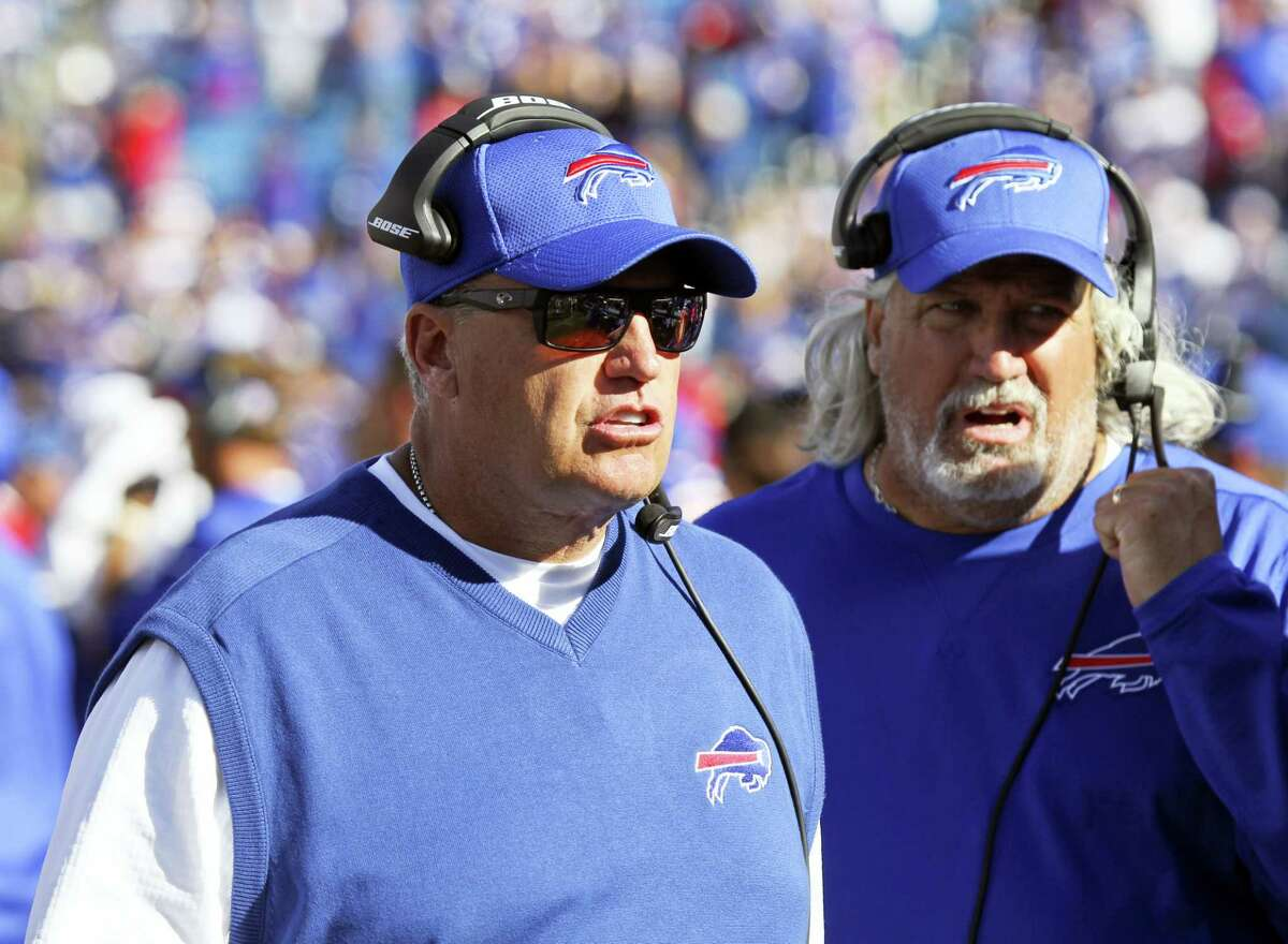 Coach Rex Ryan, left, and the Bills will look to hand the Patriots their first loss of the season today.