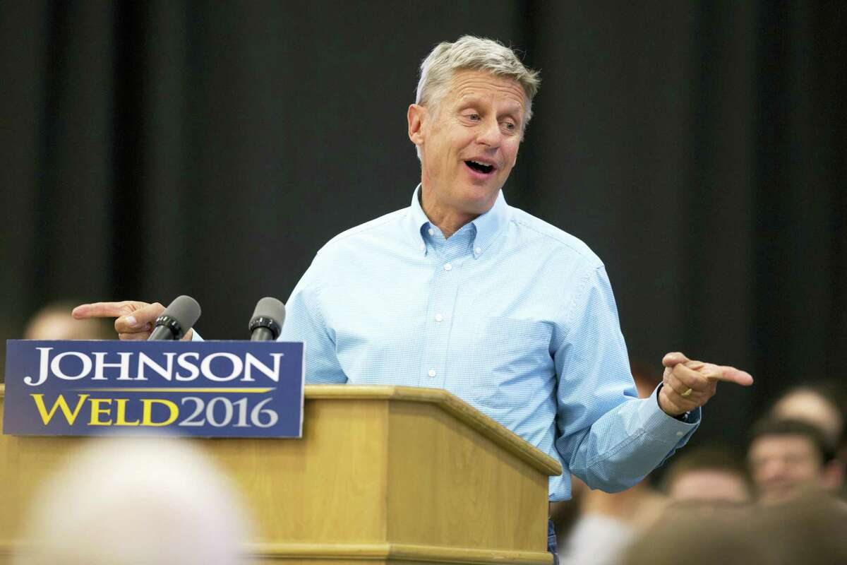 In this Sept. 3 photo, Libertarian presidential candidate Gary Johnson speaks during a campaign rally in Des Moines, Iowa.