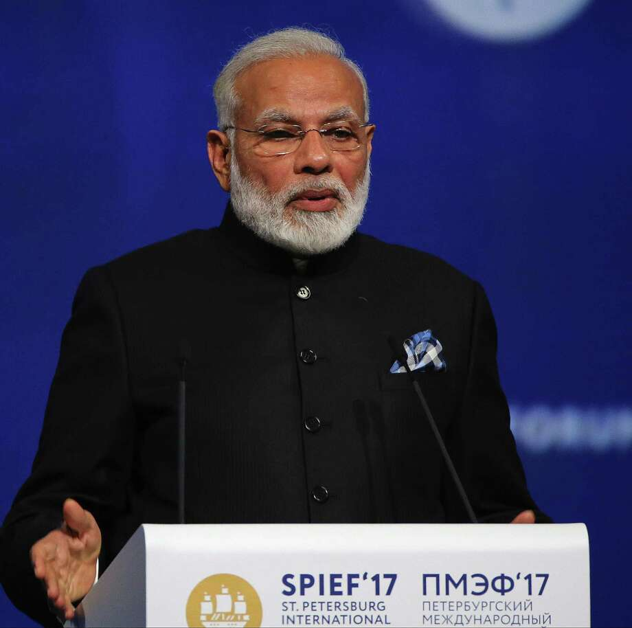 Indian Prime Minister Narendra Modi speaks at the plenary session during the St. Petersburg International Economic Forum in Saint Petersburg, Russia, on June 2, 2017. Photo: Bloomberg Photo By Andrey Rudakov. / © 2017 Bloomberg Finance LP