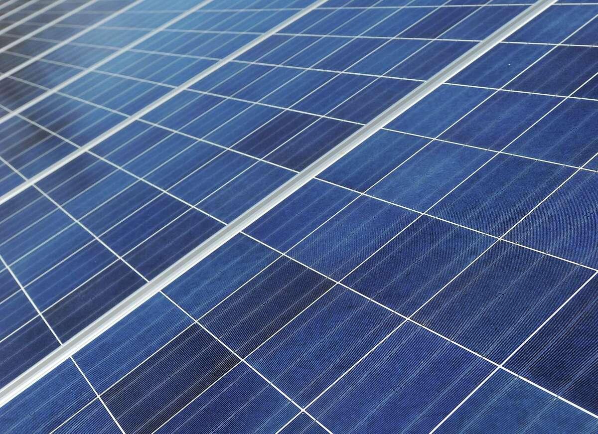 Solar panels at Samuel Staples Elementary School in Easton, Conn.