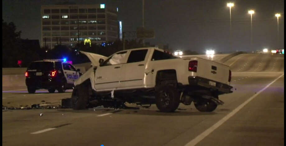 A man driving the wrong way Saturday morning on the West Loop slammed head on into another vehicle and killed the driver, according to the Bellaire Police department. Photo: Metro Video