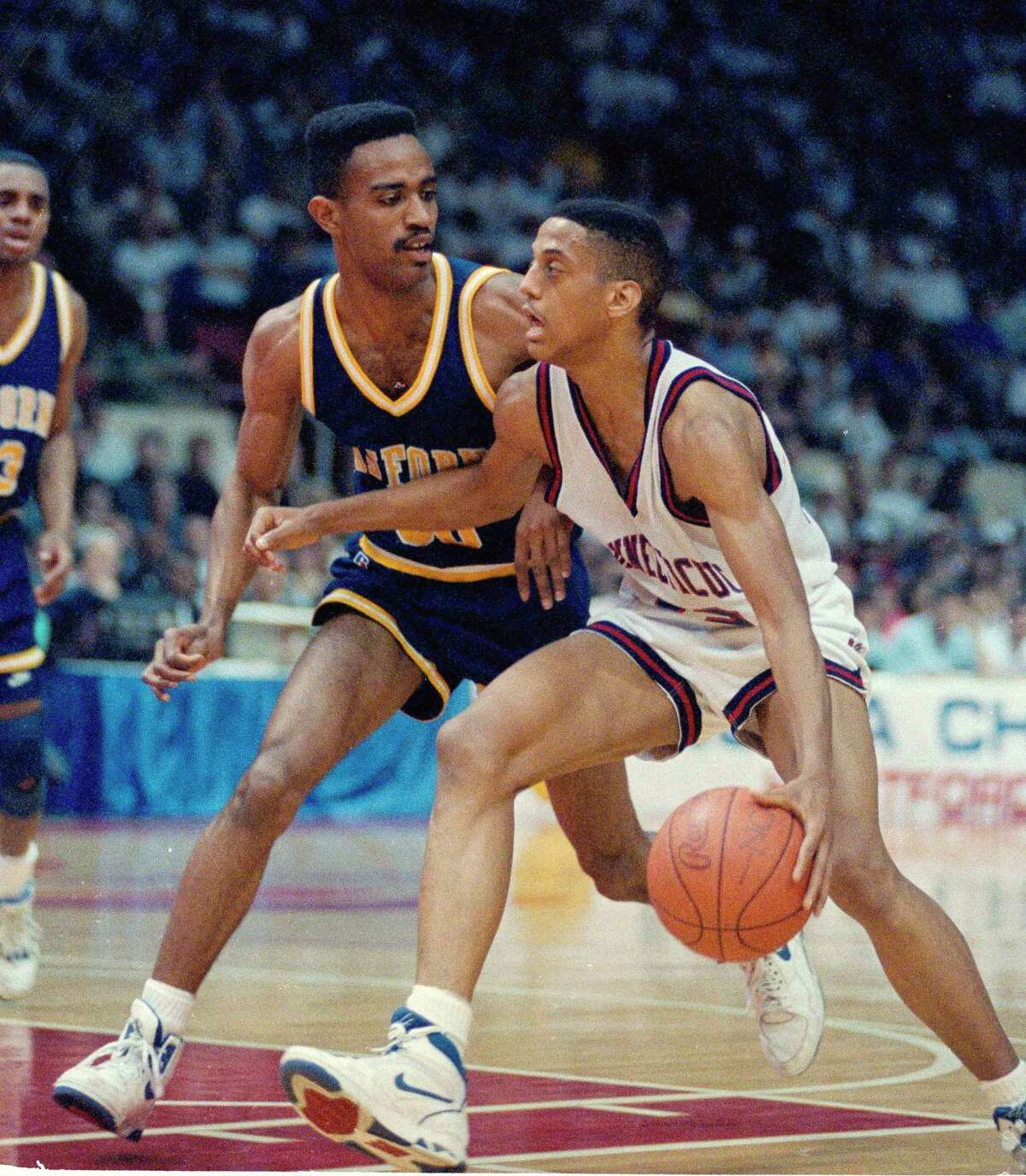 UConn's Tate George competes against California during the second round of the 1990 NCAA tournament.
