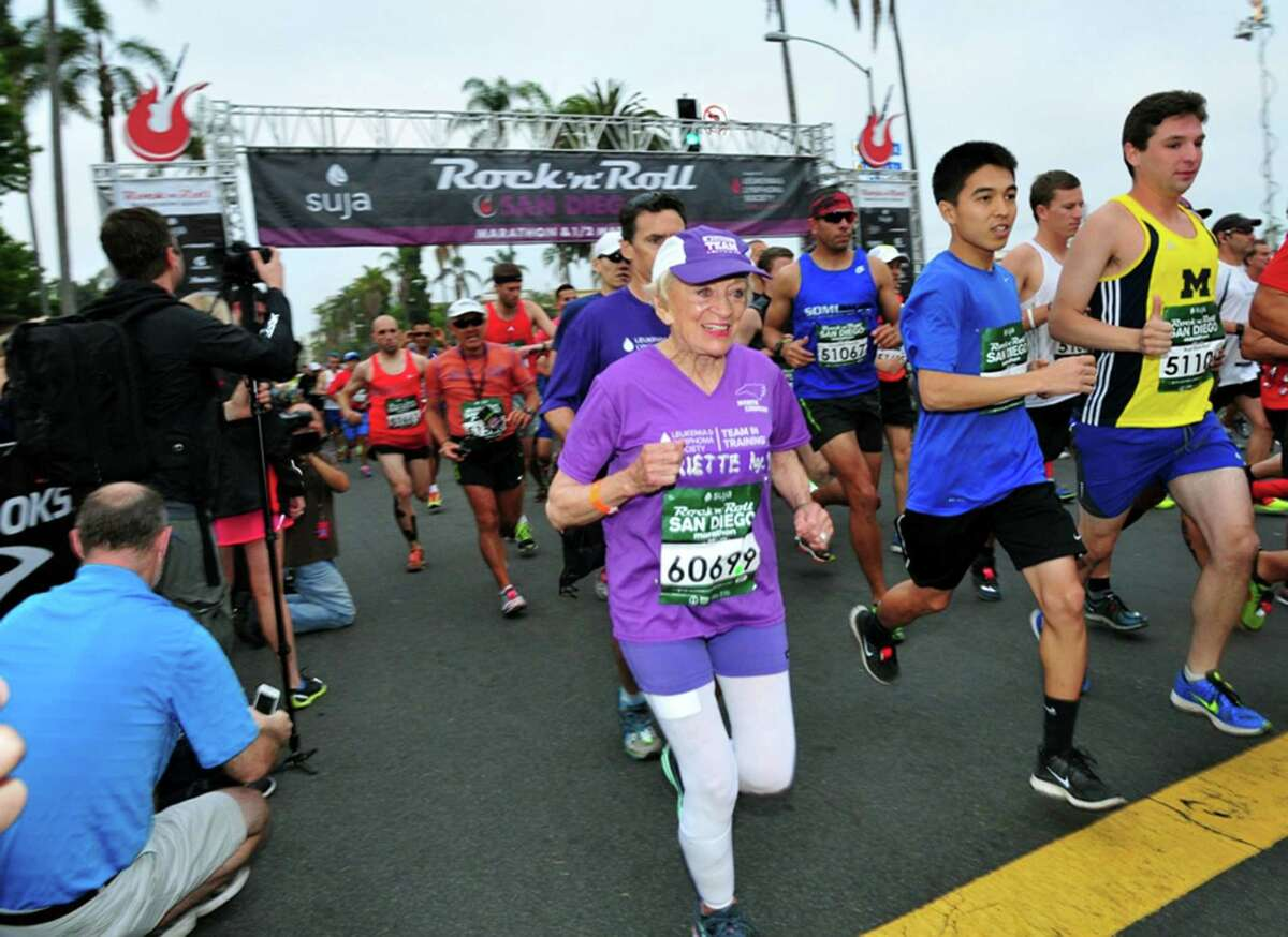 In this June 1, 2014 photo, Harriette Thompson, then 91, starts the 2014 Suja Rock 'n Roll Marathon in San Diego, which she completed. Thompson completed the race again on Sunday, at age 92, to become the oldest woman to ever complete a marathon.