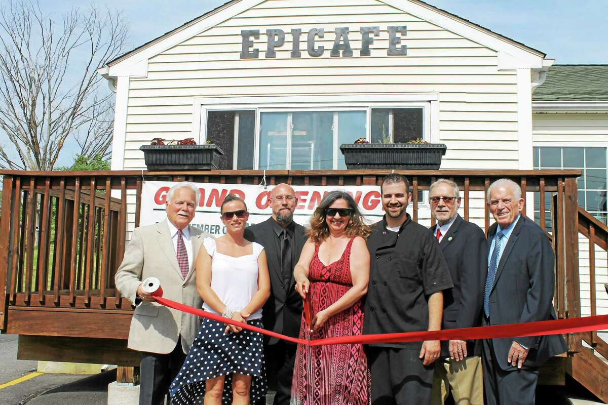 From left are Middletown Small Business Development Center Counselor Paul Dodge, Analise DiProto of EpiCafe, Middlesex County Chamber of Commerce Central Business District Chairman Phil Ouellette, Teresa Langston and Stephen DiProto of EpiCafe, Deputy Mayor of Middletown Bob Santangelo, and Chamber President Larry McHugh at the grand opening.