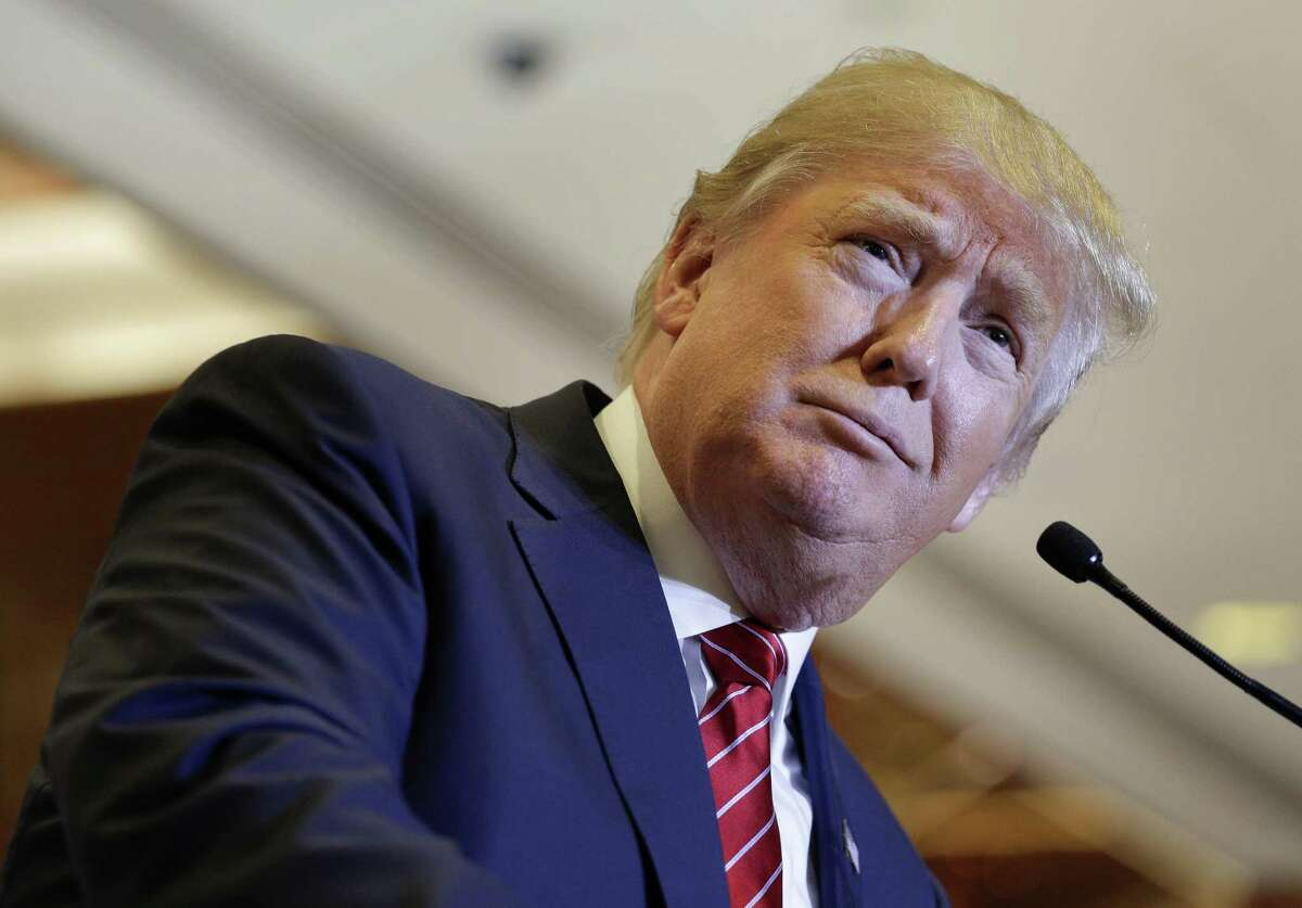 Republican presidential candidate Donald Trump pauses while speaking about his tax plan during a news conference in New York on Monday.