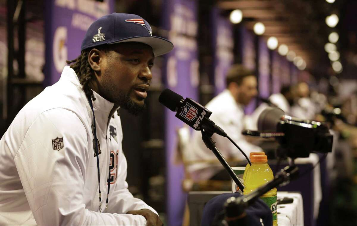 New England Patriots running back LeGarrette Blount answers questions during media day Tuesday in Phoenix.